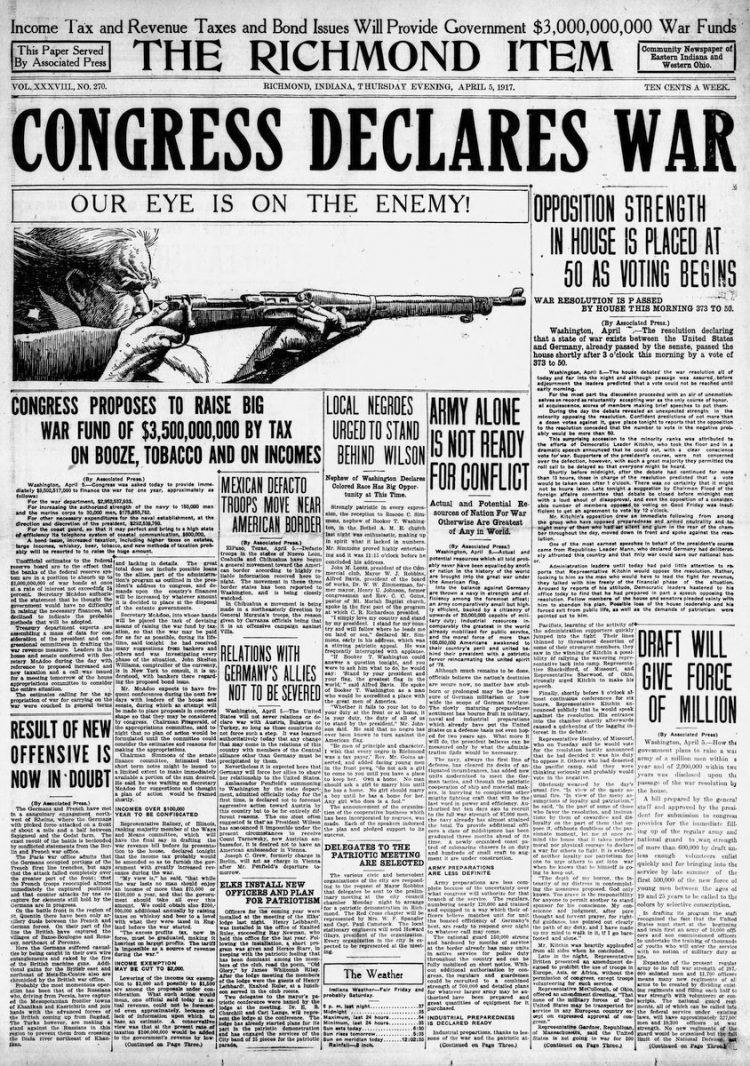 The Richmond Item newspaper front page - US in World War I - April 1917