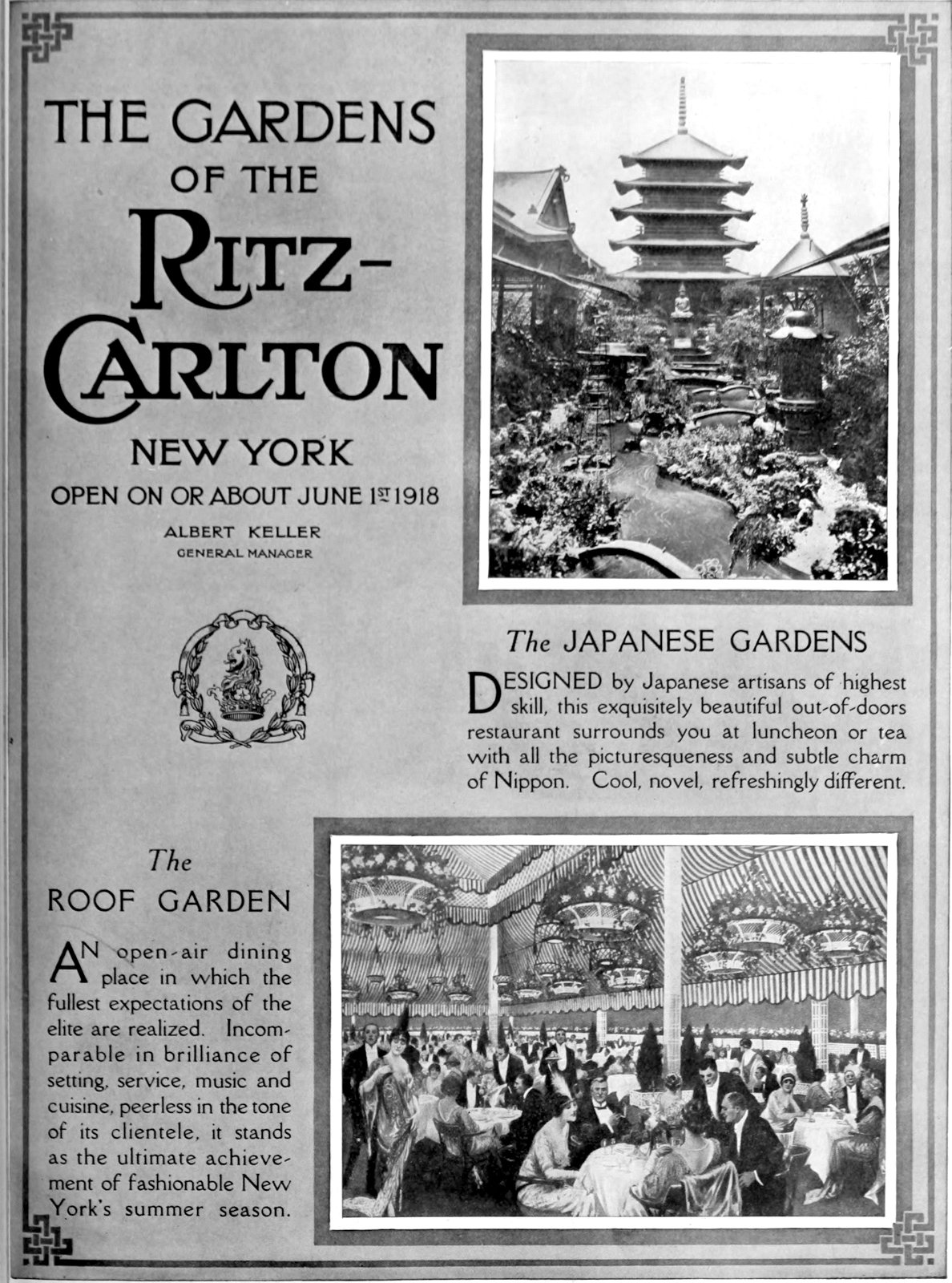 The Ritz-Carlton Hotel of New York - Opening in 1918