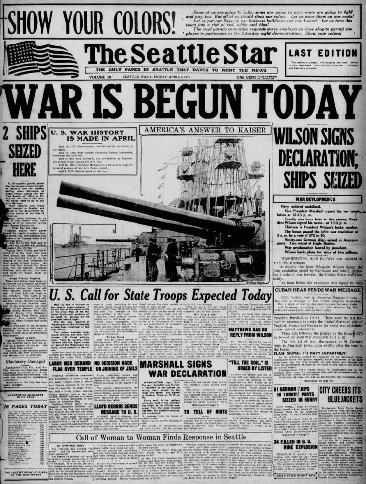 The Seattle Star newspaper front page - US in World War I - April 1917