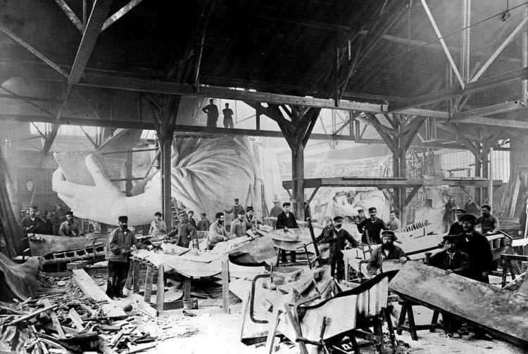 Workmen constructing the Statue of Liberty in Bartholdi's Parisian warehouse workshop