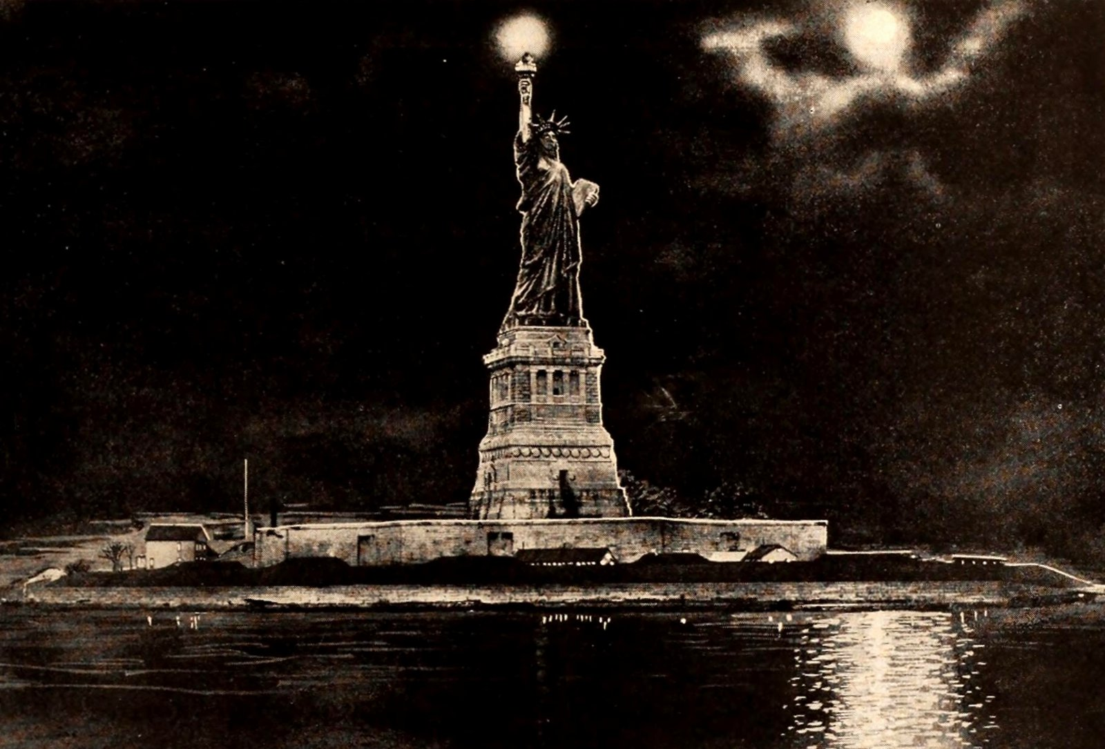 The Statue of Liberty at night (1924)