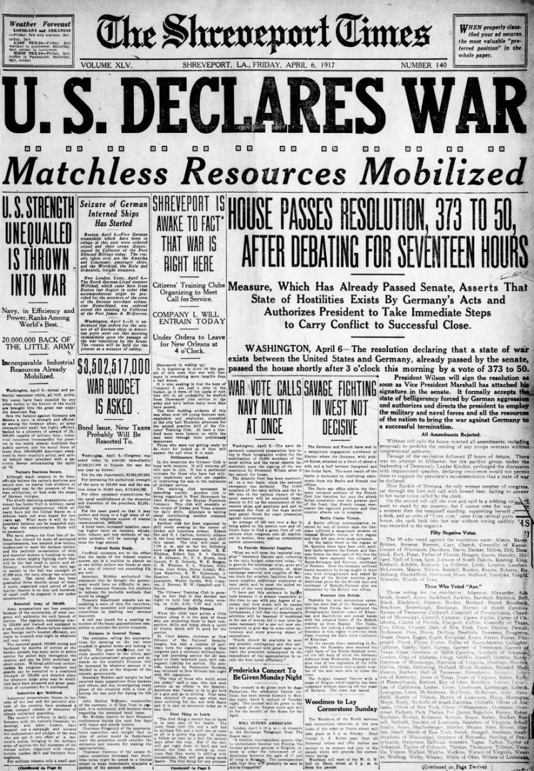 The Times newspaper front page - US in World War I - April 1917