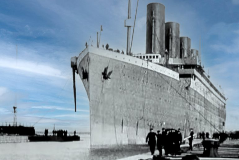The Titanic about to leave England
