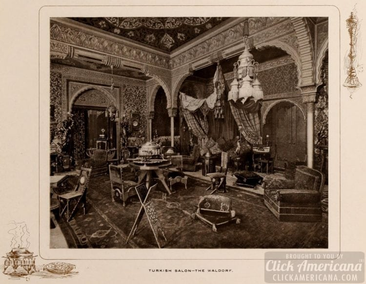 The Turkish Salon at the Waldorf Hotel in NYC - 1903