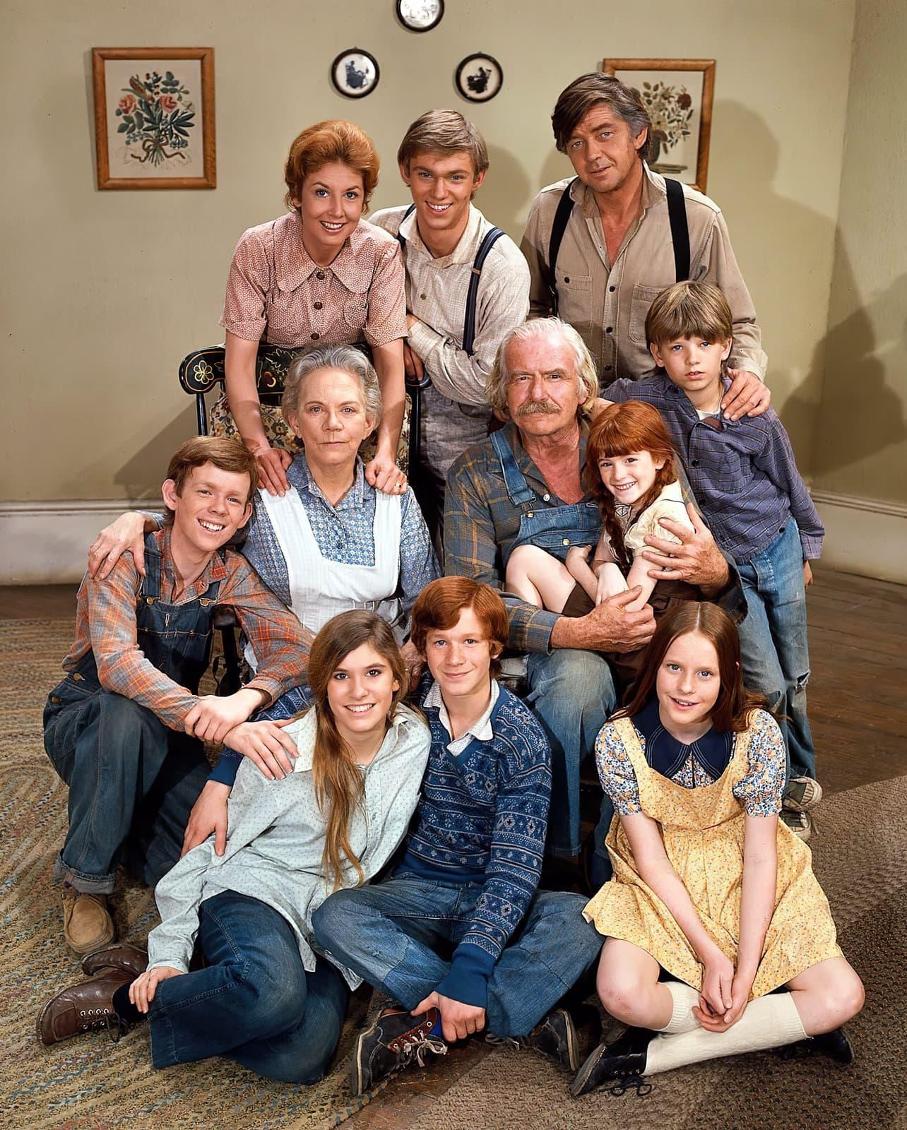 The Waltons TV series cast photo on set