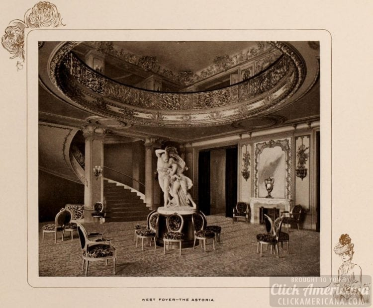 The West Foyer of the Astoria Hotel in 1903