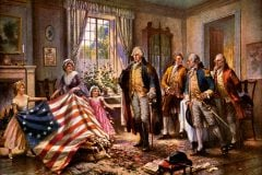 The birth of Old Glory from painting by Moran