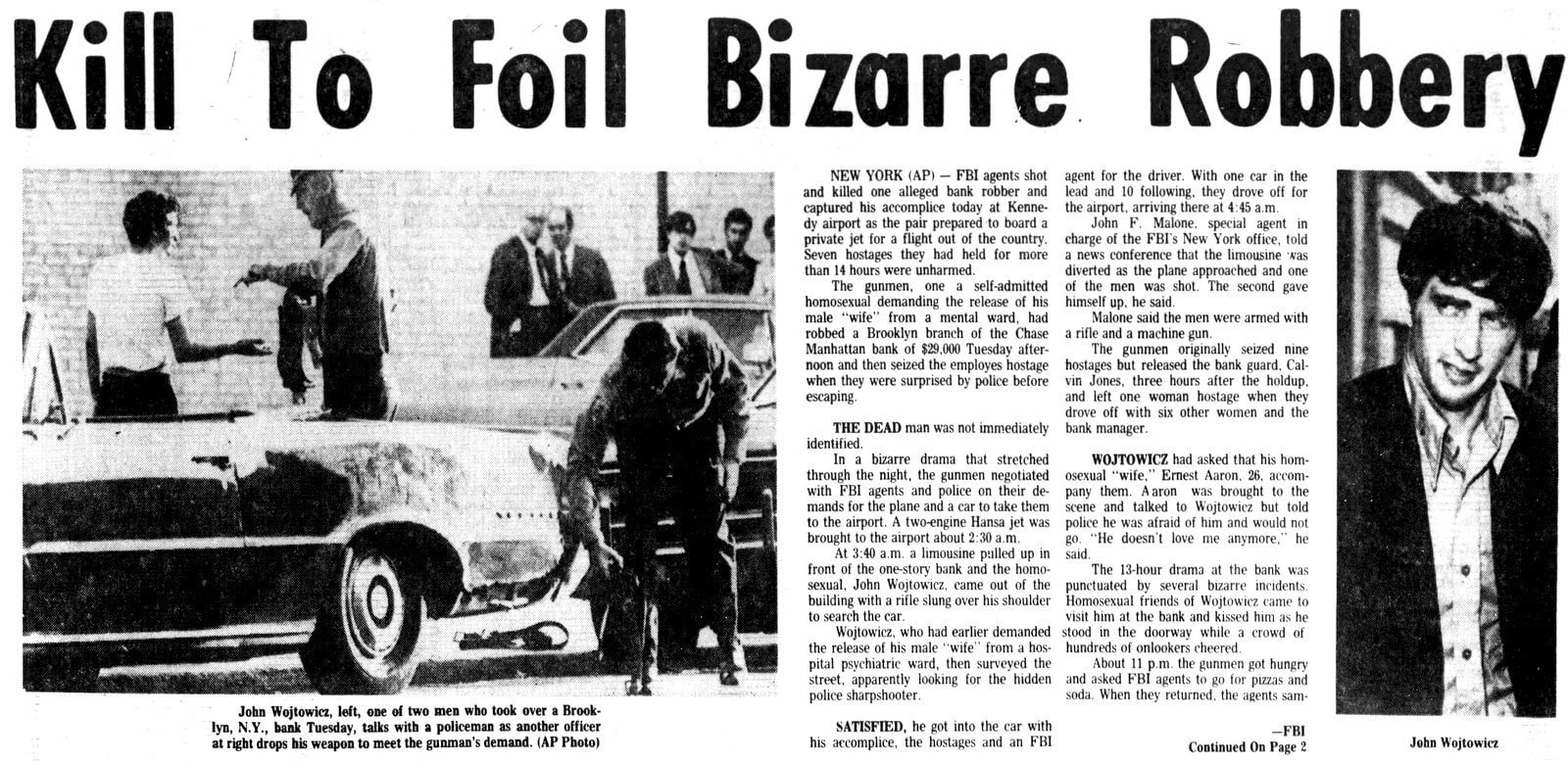 The bizarre real story of the bank robbery behind Dog Day Afternoon - Quad City Times - AUg 23 1972