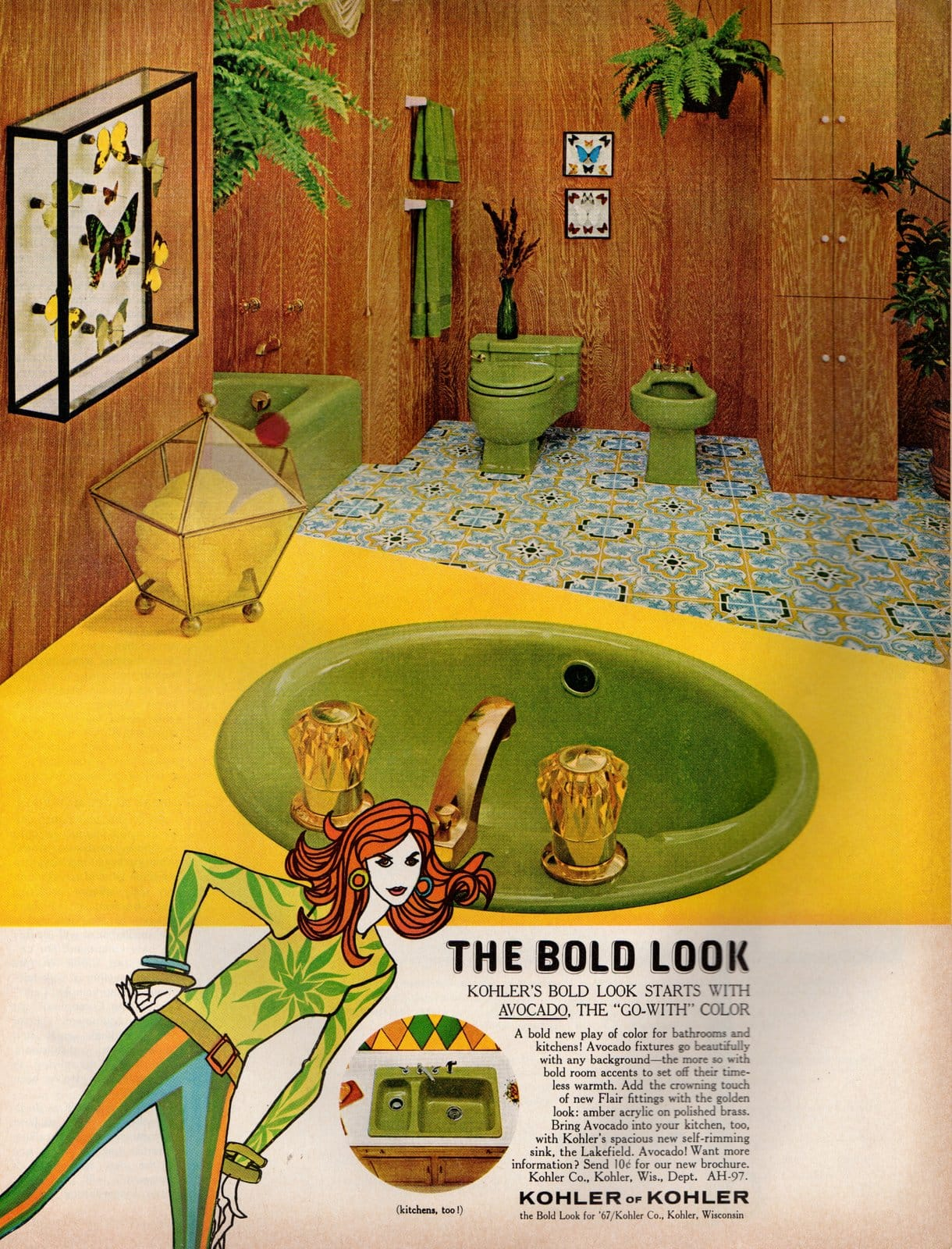 The bold look - Vintage avocado green bathroom suites from 1967