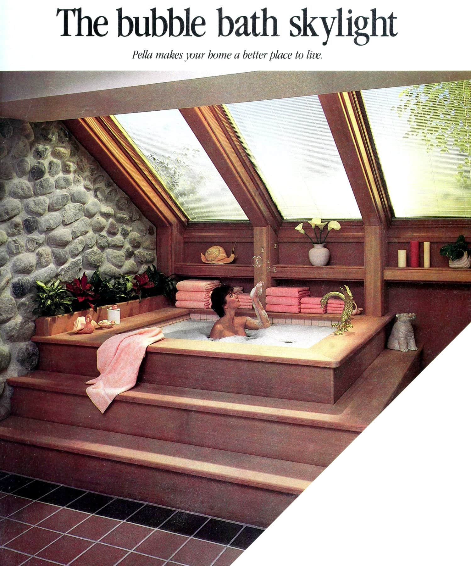The bubble bath skylight - Vintage eighties bathroom design (1986)