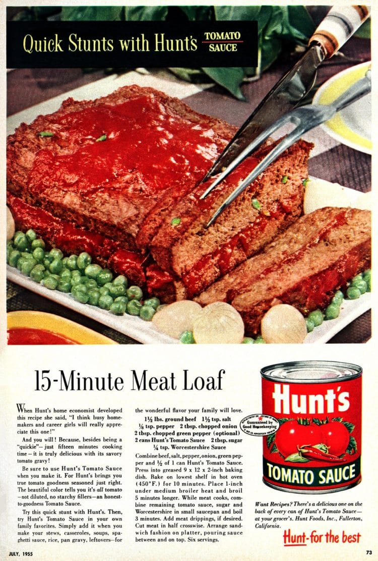 The fifties' famous 15-minute meatloaf recipe (1955)