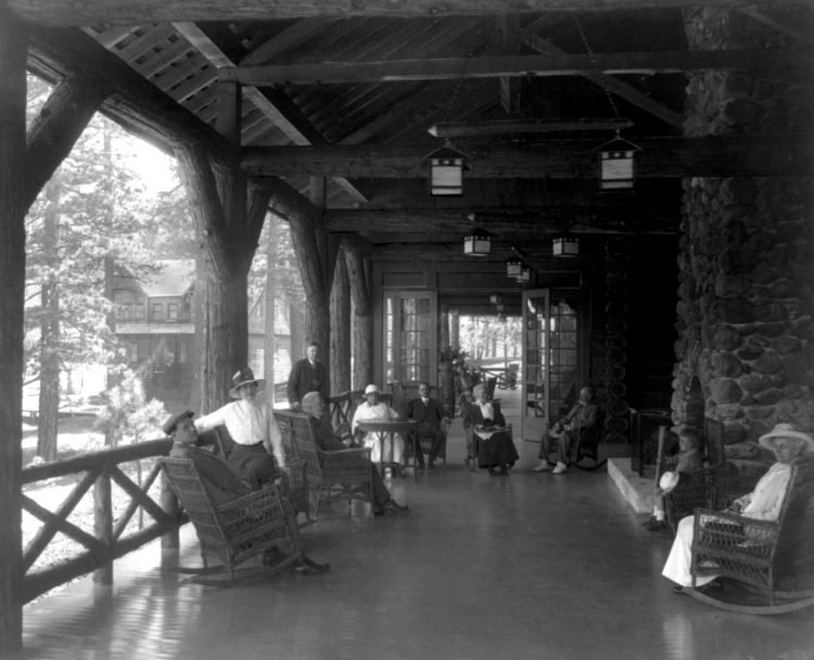 The fireplace on the porch Feather River Inn Calif-1900-1920