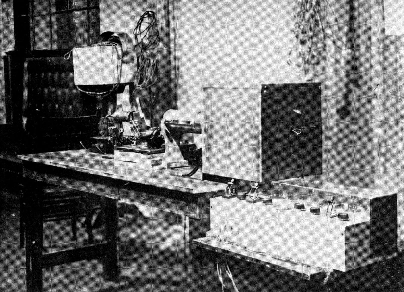 The first TV camera set up in Farnsworth's TV laboratory