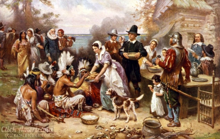 The first Thanksgiving 1621 - JLG Ferris - Pilgrims and Natives gather to share meal 1932