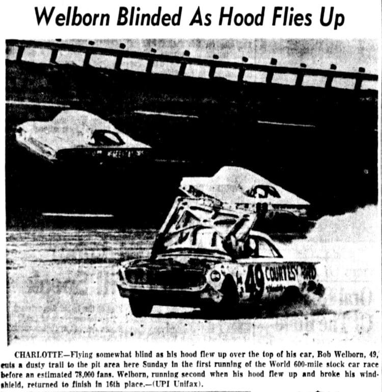 The first World 600 at Charlotte Motor Speedway (1960) - Wellborn blinded