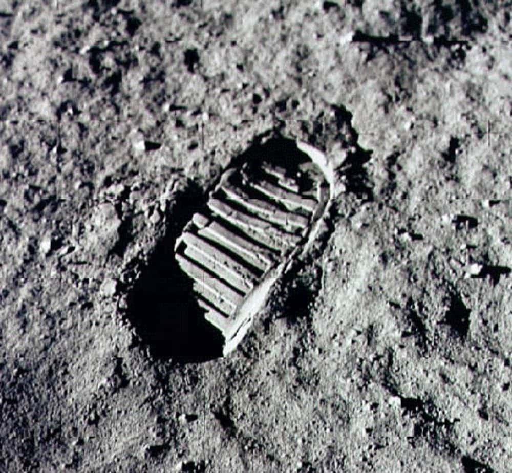 The first footprint on the moon - Courtesy NASA