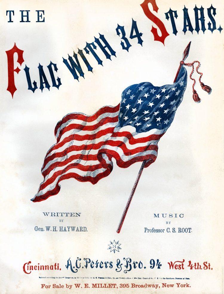 The flag with 34 stars - American history