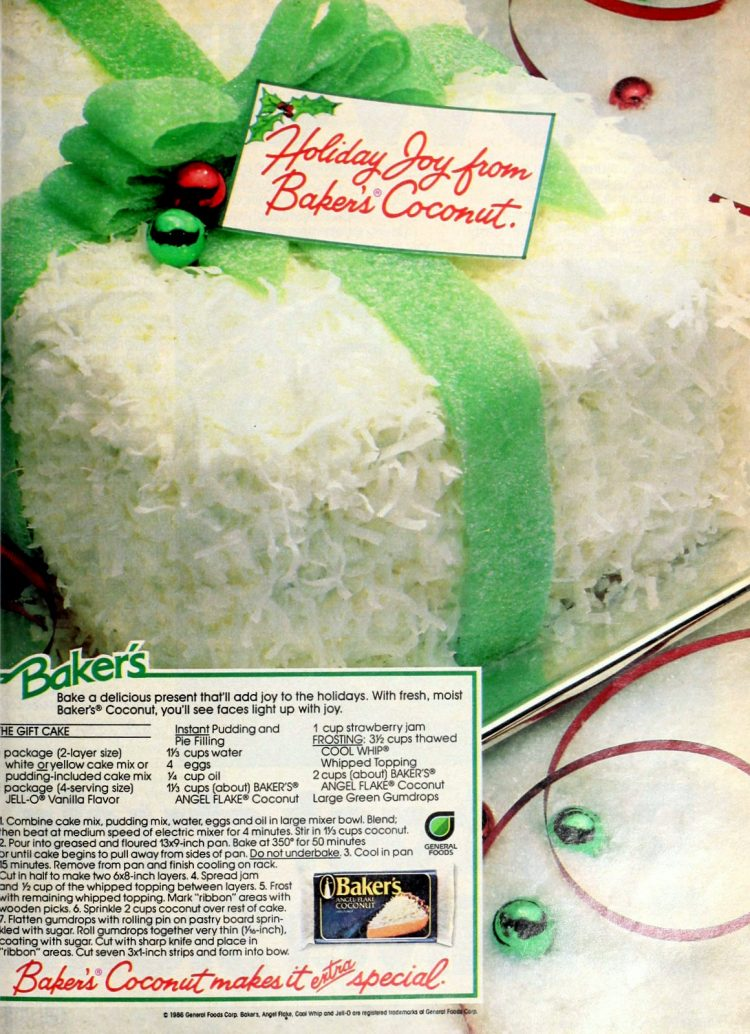 The gift coconut Christmas cake from 1986