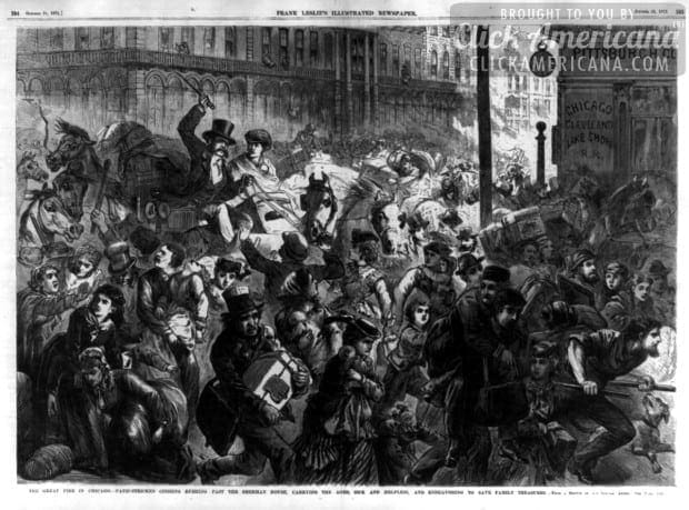 The great fire in Chicago - panic-stricken citizens