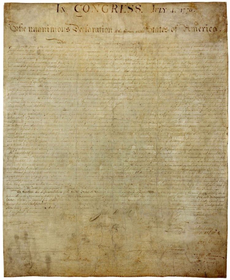 The handwritten Declaration of Independence