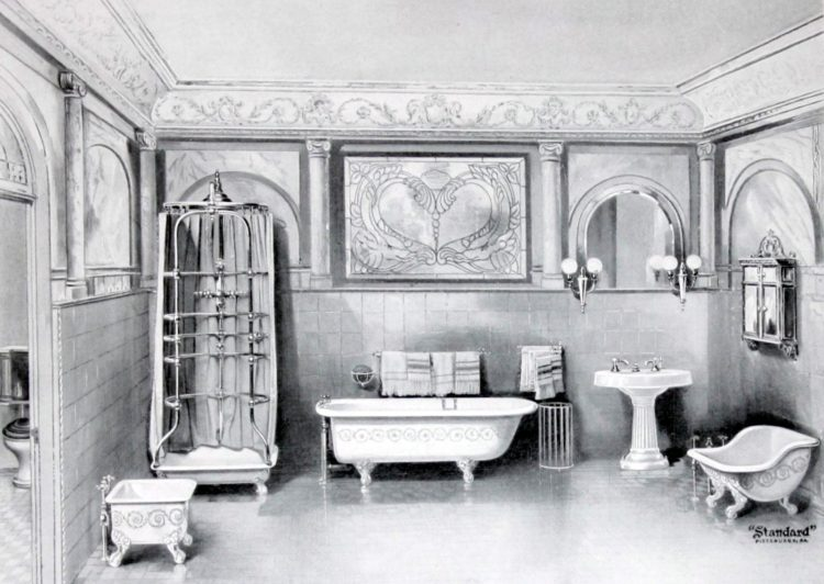 Elegant antique bathrooms from the 1900s: Sinks, tubs & decor