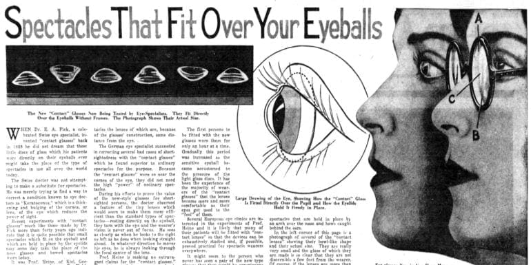 The new contact lenses Eyeball spectacles (1931)