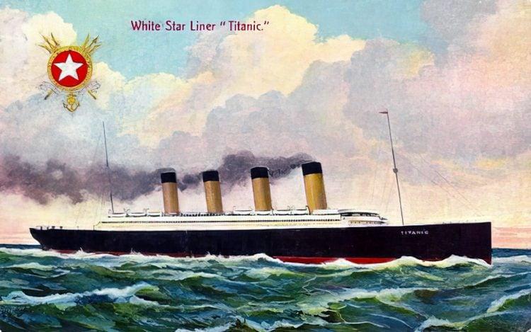 The old Titanic at sea