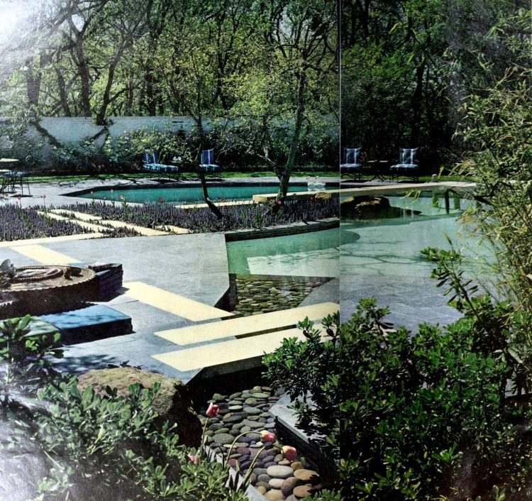 The pool becomes an integral part of a water garden 1969