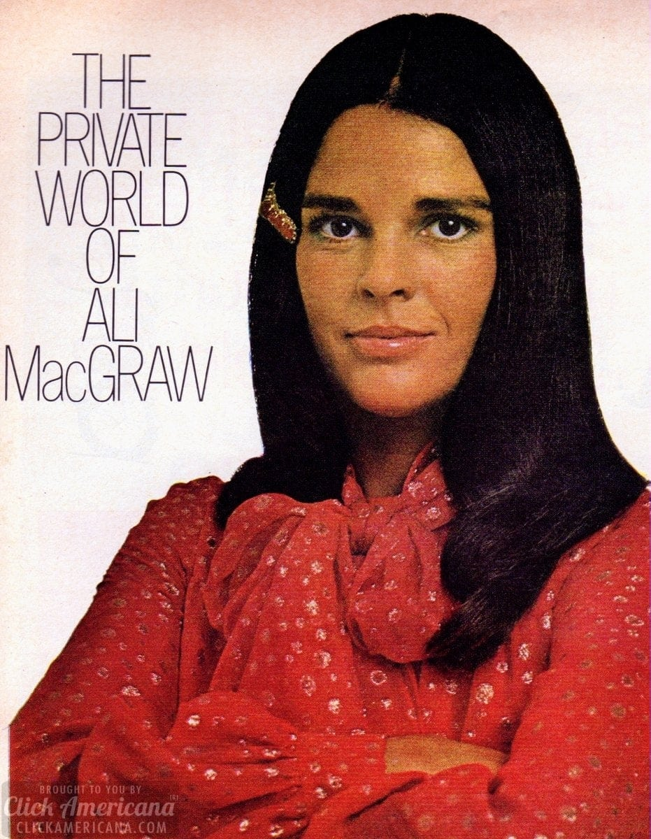 popular valentine's day gifts for her - The private world of actress Ali MacGraw 1972