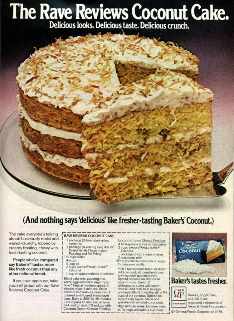 The retro 'Rave Reviews' coconut cake with coconut cream cheese frosting (1978)