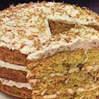 Rave reviews coconut cake with coconut cream cheese frosting