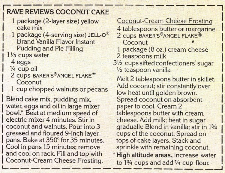 The retro Rave Reviews Coconut Cake recipe (1980)