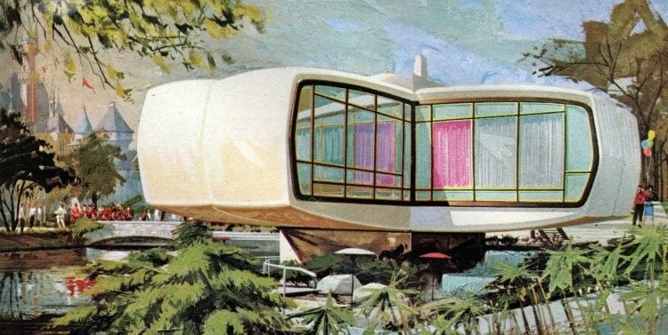 The retro-modern space-age Monsanto's Home of the Future at Disneyland (1)