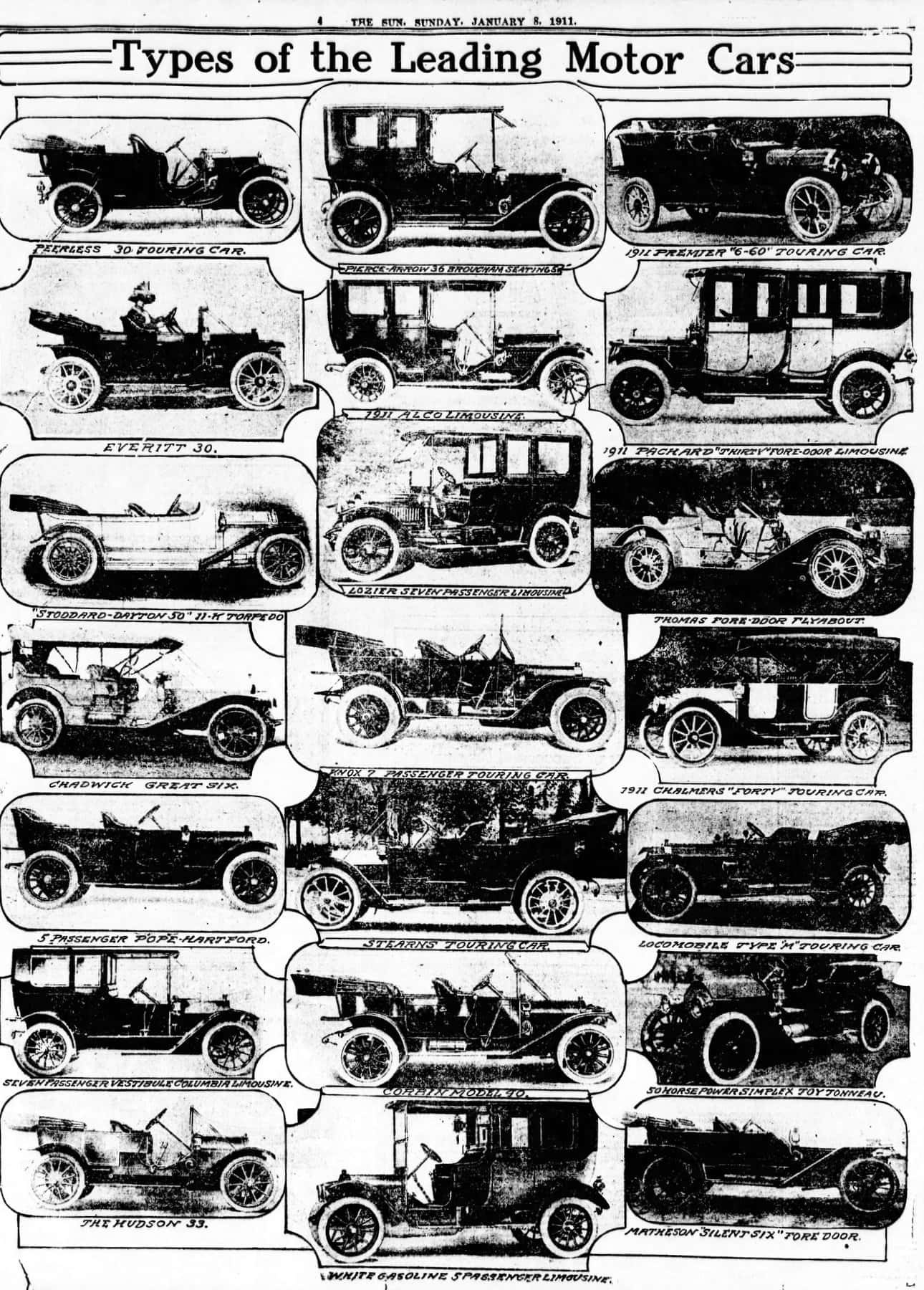 The top automobiles for 1911 - Types of leading motor cars