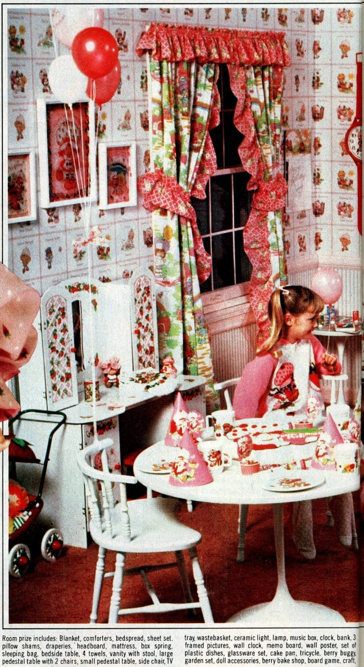 Strawberry Shortcake bedroom makeover - wallpaper, furniture, sheets, toys and more from the '80s