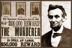 The wanted poster with a 100000 reward for catching President Lincolns killer (1865)