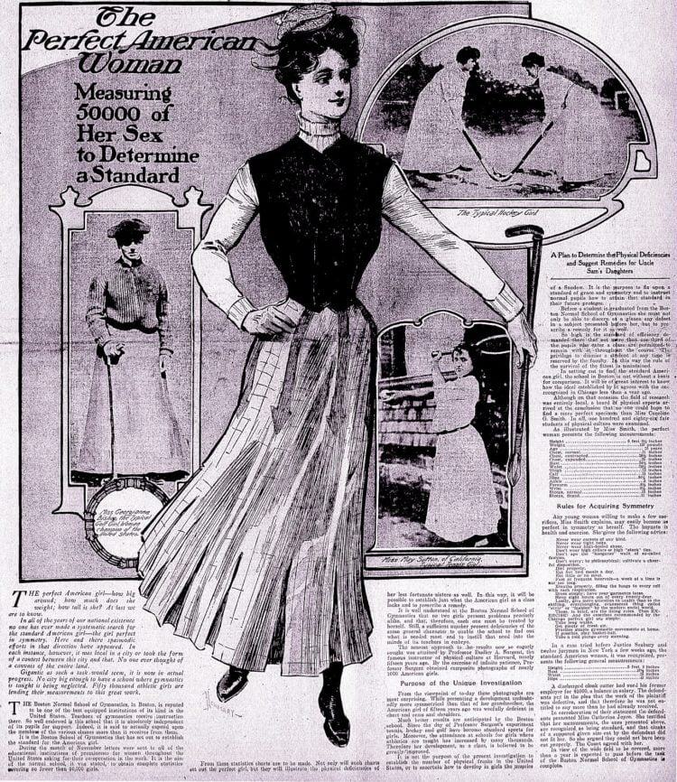 The weight, height and measurements of the perfect American woman (1905)