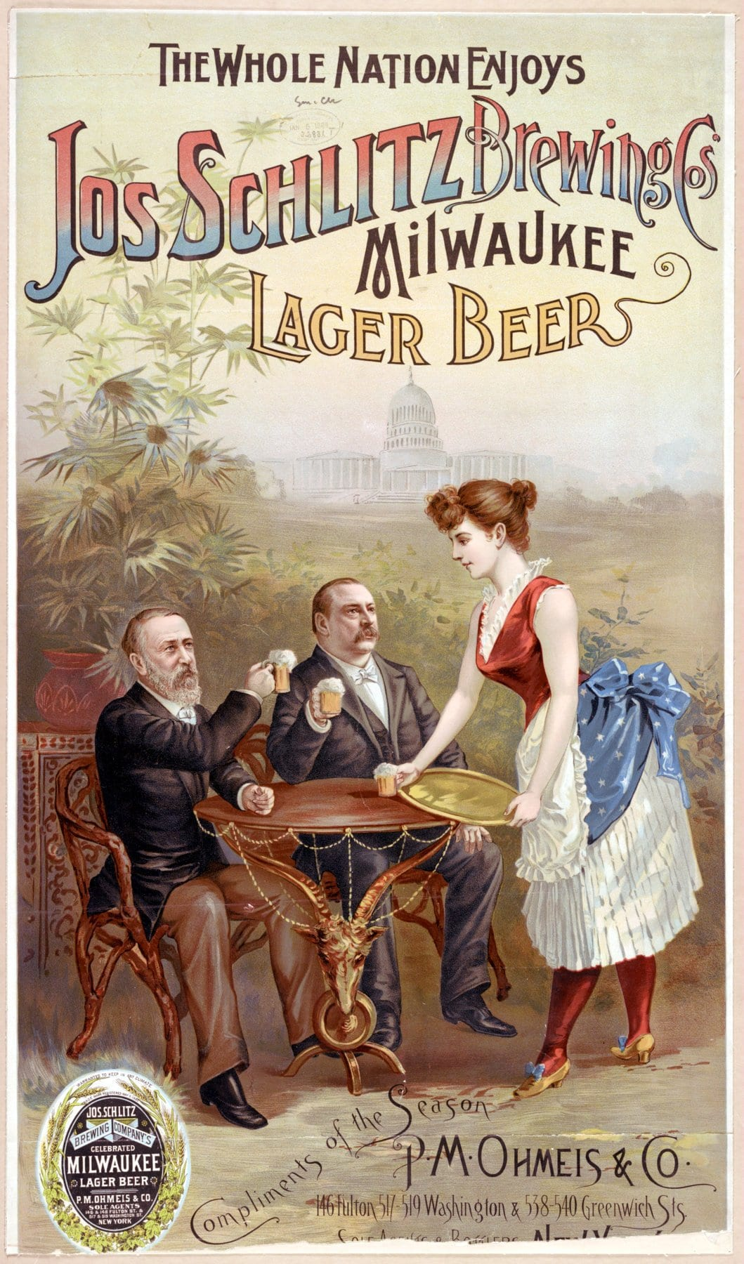 1888 The whole nation enjoys Jos Schlitz Brewing Cos' Milwaukee lager beer
