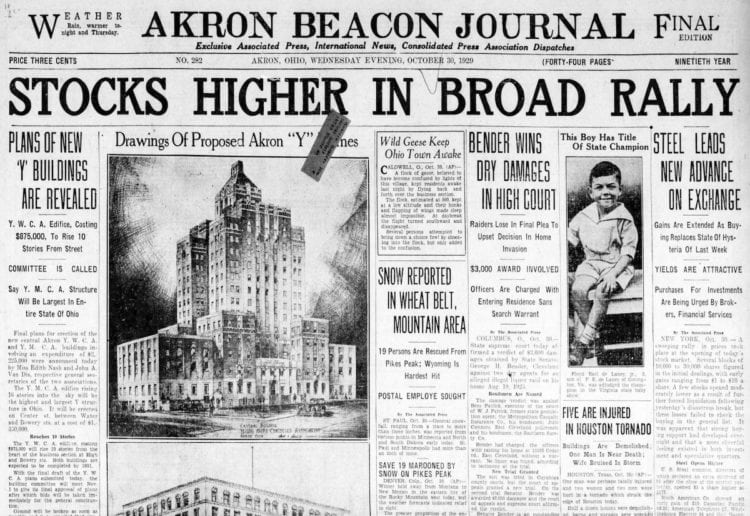 The Great Depression Newspaper headlines from 1929 - Stocks Higher in Broad Rally