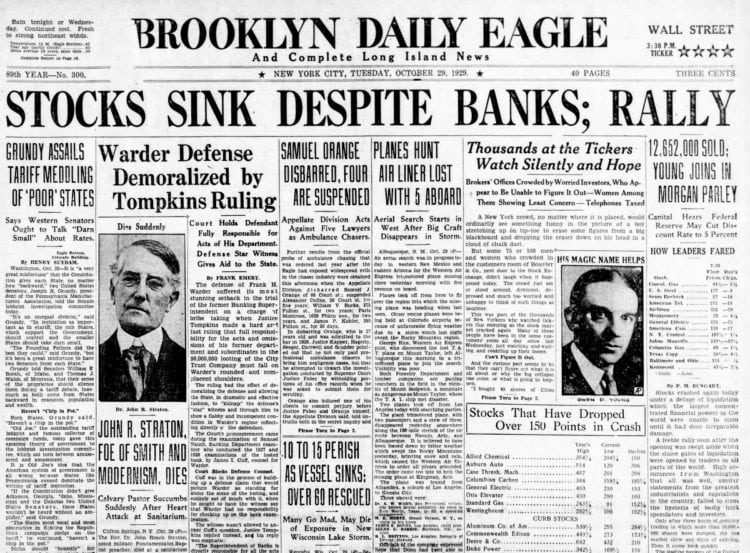 Great Depression Newspaper headlines from 1929 - Stocks Sink Despite Banks; Rally
