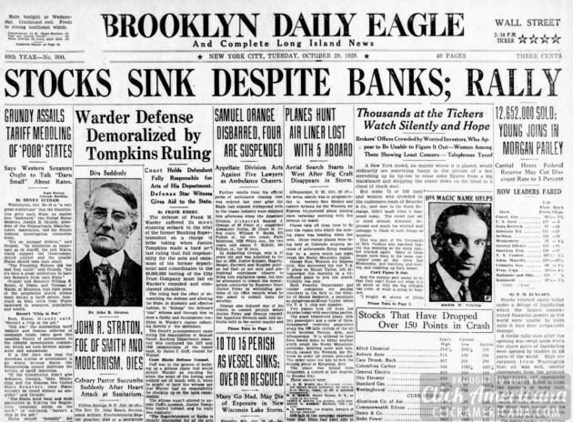 The Great Depression: Newspaper headlines from the stock ...