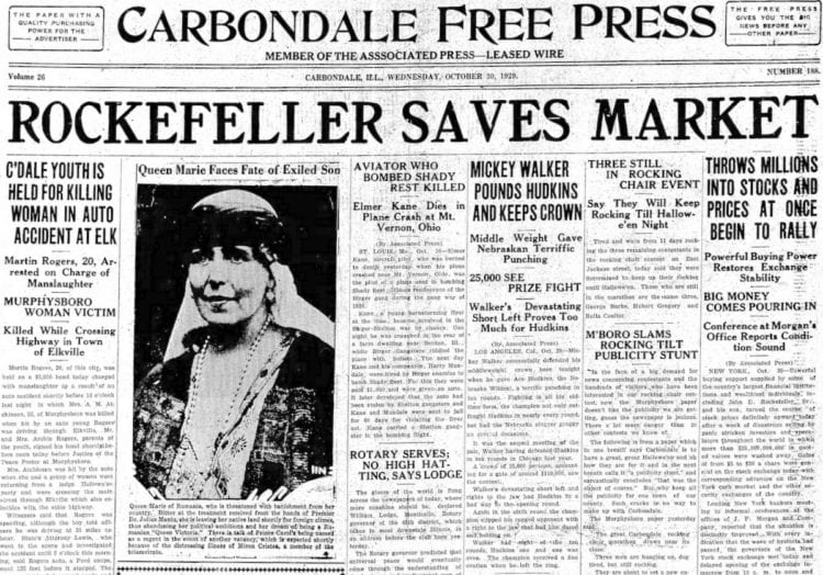 The Great Depression Newspaper headlines from 1929 - Rockefeller Saves Market