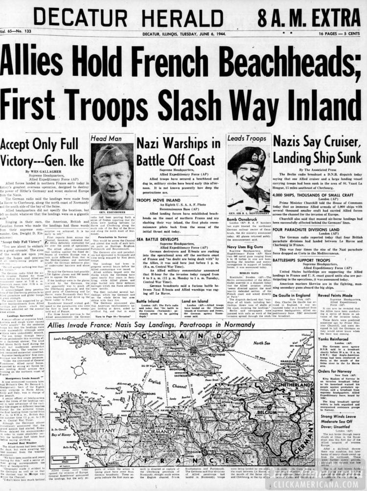 Allies Hold French Beachheads; First Troops Slash Way Inland