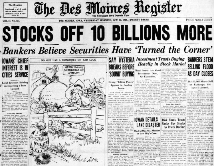 Stocks Off 10 Billions More - Great Depression headlines from 1929