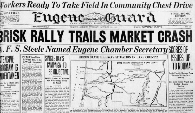 The Great Depression Newspaper headlines from 1929 - Brisk Rally Trails Market Crash