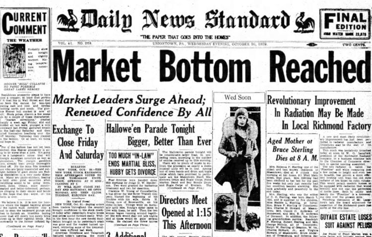 The Great Depression Newspaper headlines from 1929 - Market Bottom Reached