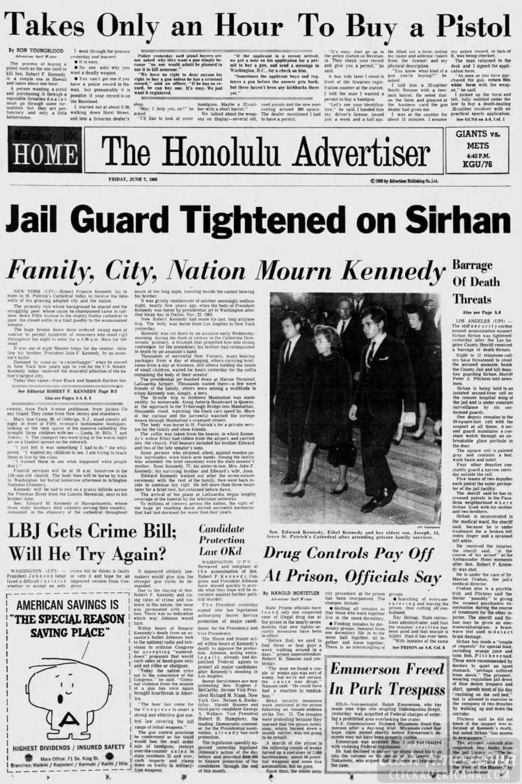 The_Honolulu_Advertiser - RFK killed - June 7 1968