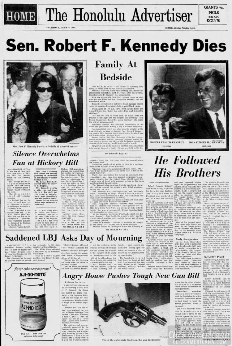 The_Honolulu_Advertiser - Senator Robert F Kennedy dies - June 6 1968
