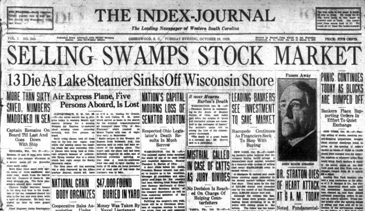 Great Depression Newspaper headlines from 1929 - Selling Swamps Stock Market