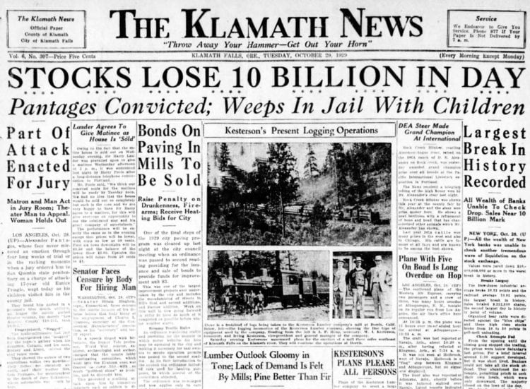 The Great Depression Newspaper headlines from 1929 - Stocks Lose 10 Billion in Day